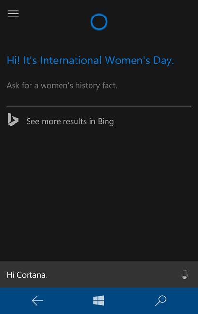 Cortana, Windows 10, Windows 10 Mobile, versiune, internationala, engleza