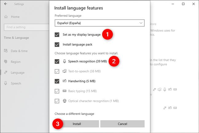 Selectarea caracteristicilor de instalat pentru noua limbă
