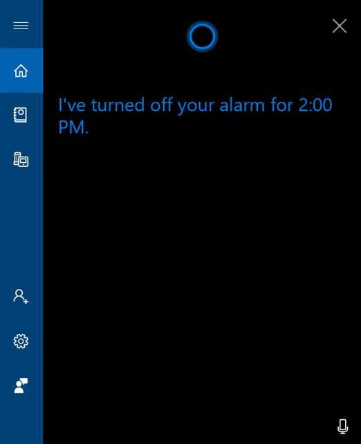 Cortana te informează că alarma este oprită