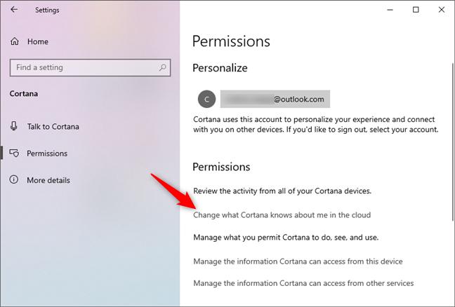 Modifică ce știe Cortana despre mine în cloud