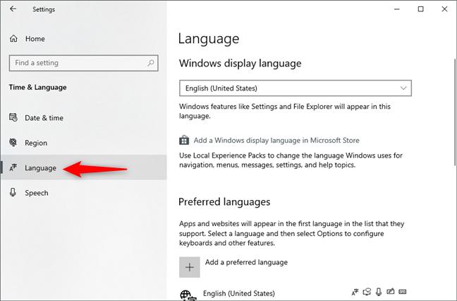 Pagina Language din Setările Windows 10