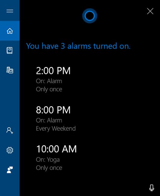 Cortana arată alarmele active