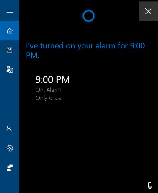 Cortana te anunță că este setată o alarmă