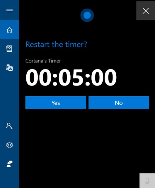 Repornește Cortana's Timer