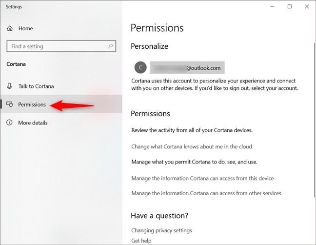 Pagina Permissions (Permisiuni) din setările Cortanei în Windows 10