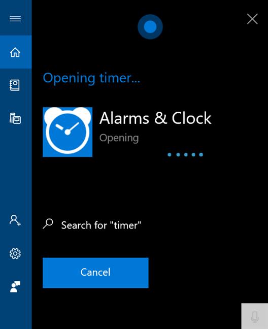 Spune timer pentru a deschide Alarme și ceas
