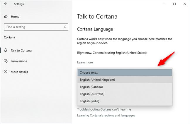 Alegerea unei alte limbi pentru Cortana