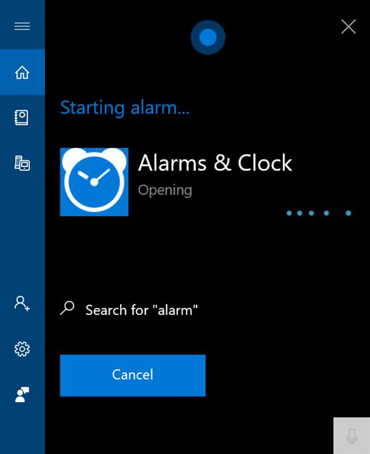 Spune alarm pentru a deschide Alarme și ceas