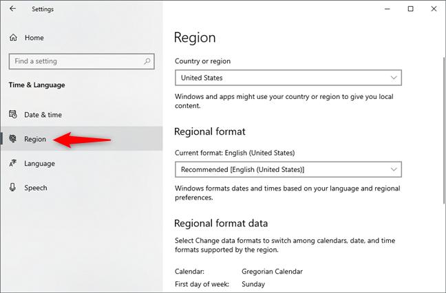 Pagina Region din Setările Windows 10