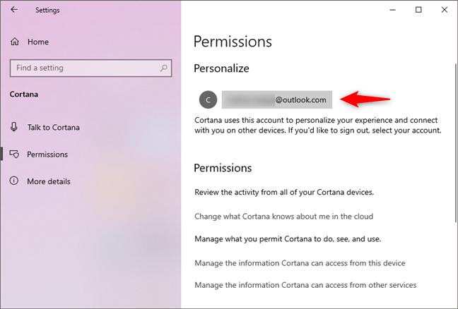 Contul Microsoft folosit pentru a te conecta la Cortana