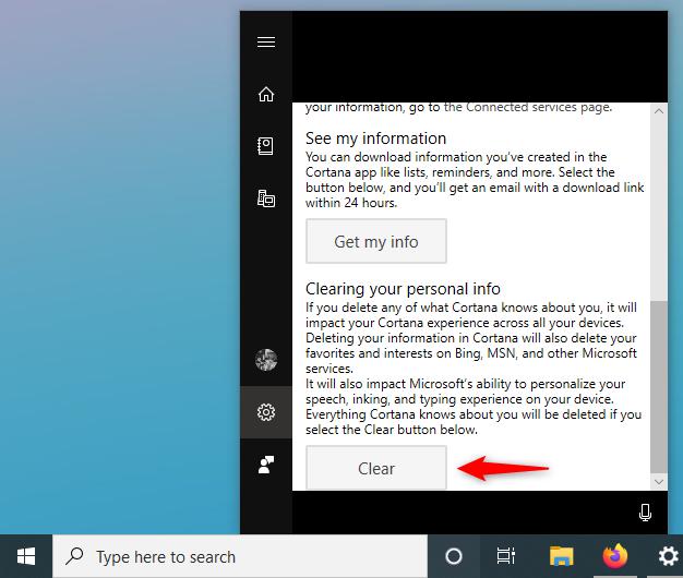 Opțiunea de a șterge informațiile personale din cloud-ul Cortanei