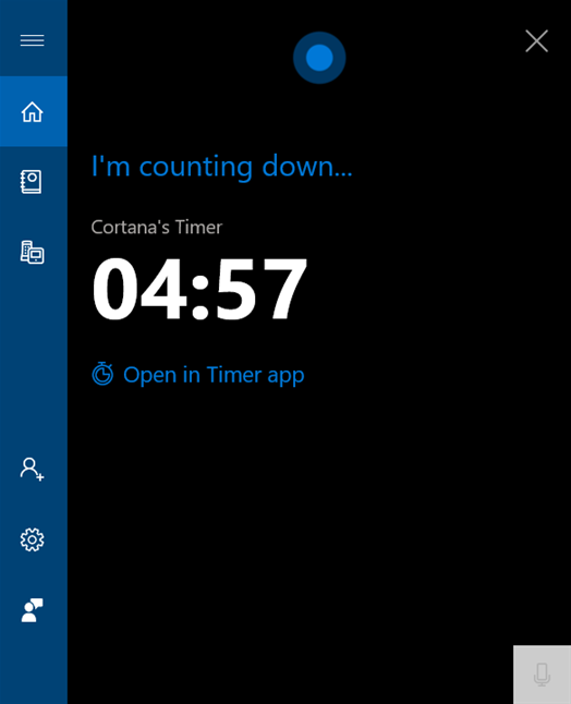Cortana te anunță că temporizatorul este setat