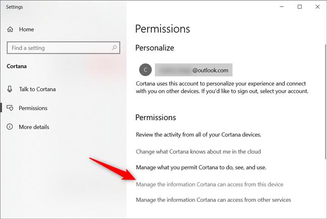 Administrează informațiile pe care Cortana le poate accesa de pe acest dispozitiv