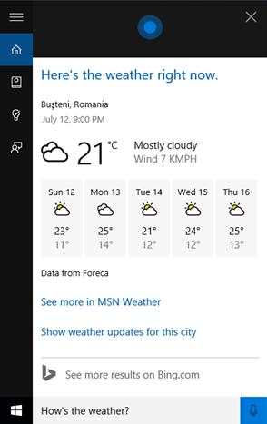 Cortana verifică vremea