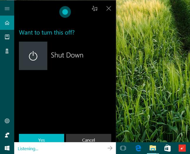 Cortana, calculator, opreste, delogare, repornire