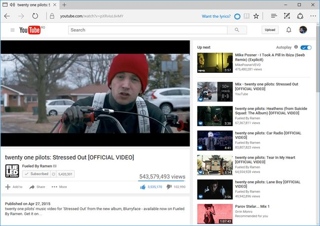 versuri, Cortana, Microsoft Edge, Windows 10, melodii