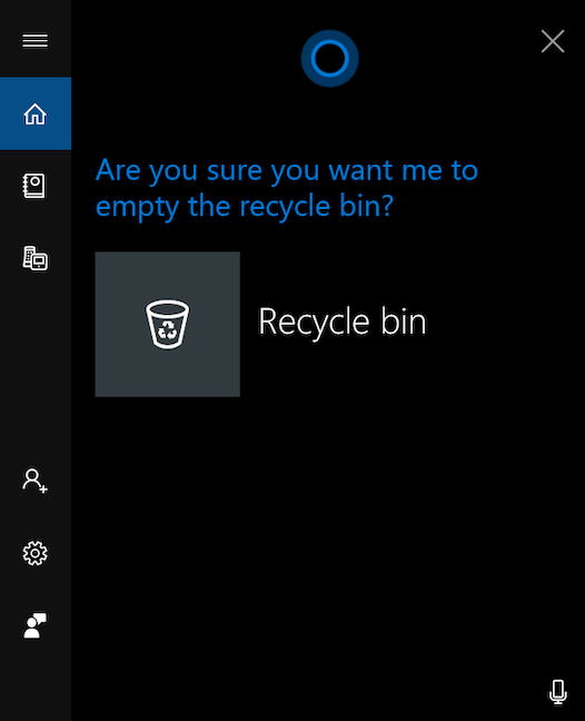 Golește Coșul de reciclare folosind Cortana