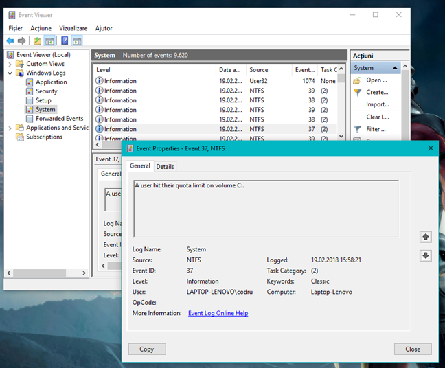 Windows, cote disc
