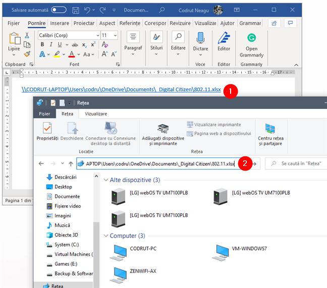 Copiere și lipire link fișier în bara de adresă din File Explorer