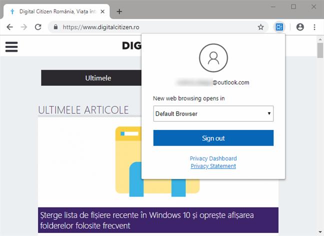 Selectarea browser-ului cu care sunt deschise noile pagini web din Cronologie