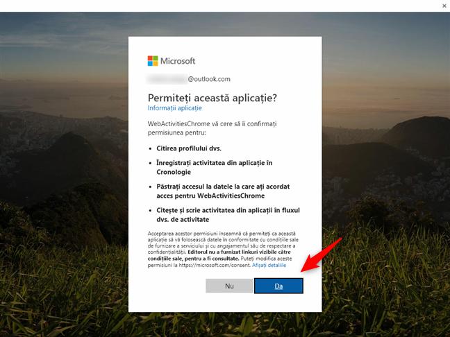 Permisiunea Web Activities de a îți accesa contul Microsoft