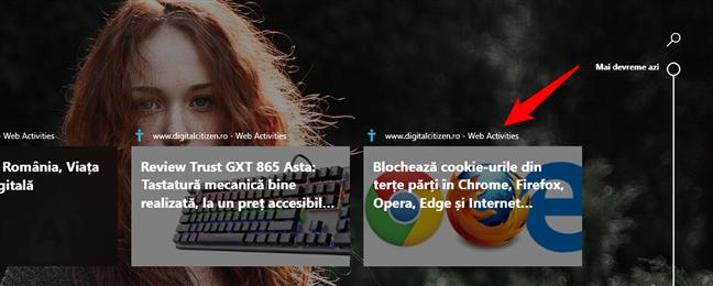 Activitățile din trecut, din Chrome, sunt afișate în Cronologie ca Web Activities