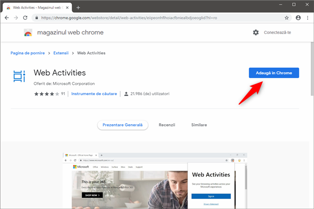 Pagina extensiei Web Activities