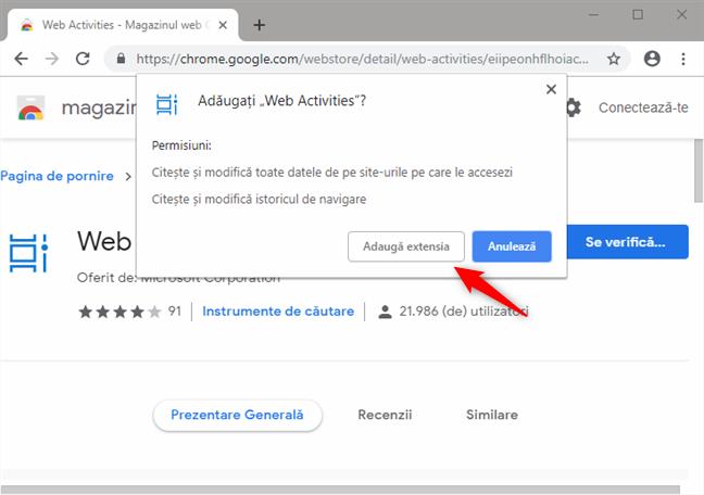 Instalarea extensiei Web Activities pentru Google Chrome