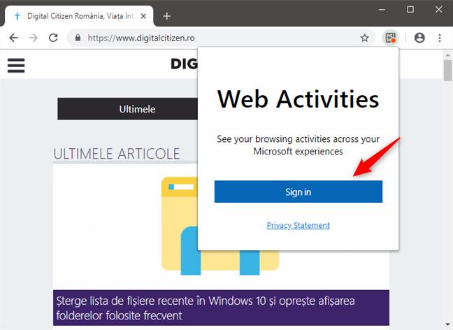 Conectarea la un cont Microsoft în Web Activities