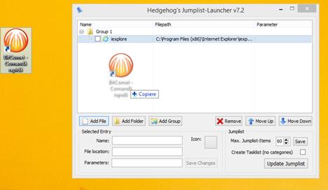 Jumplist Launcher, lista rapida, personalizata, bara de activitati, Windows