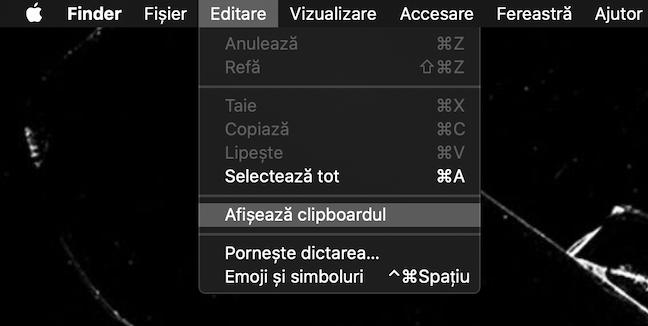Meniul Editare are opțiunea Afișează clipboardul