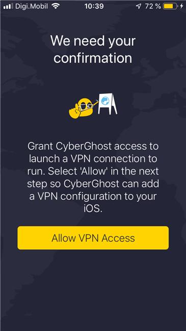 Instalarea aplicației CyberGhost VPN pentru iOS