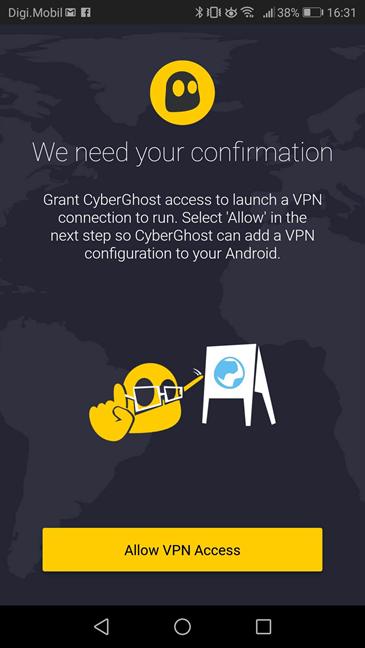 Aplicația CyberGhost VPN pentru Android