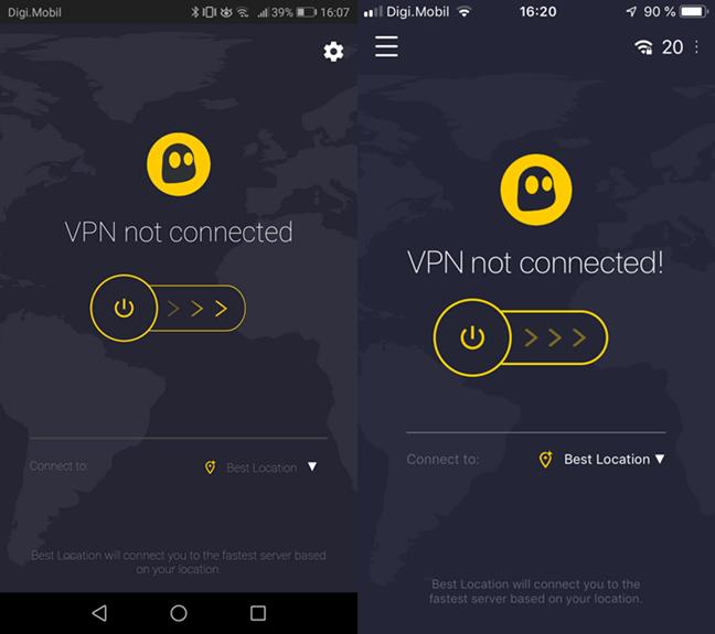 Conectarea la un server VPN în CyberGhost VPN pentru Android și iOS