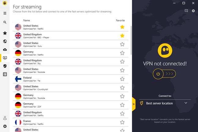 Lista țărilor care au servere VPN optimizate pentru streaming