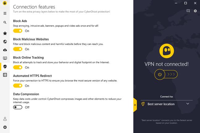 Setările extra disponibile pentru conexiuni, din CyberGhost VPN