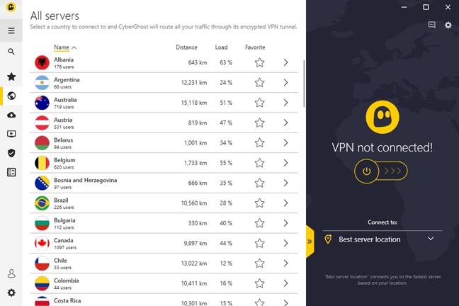 Lista de servere și țări disponibile în CyberGhost VPN