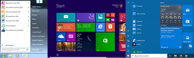 Evolutia Meniului Start de la Windows 7 la Windows 8 și la Windows 10