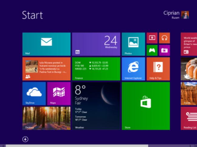 Ecranul Start din Windows 8, care a displăcut multor oameni