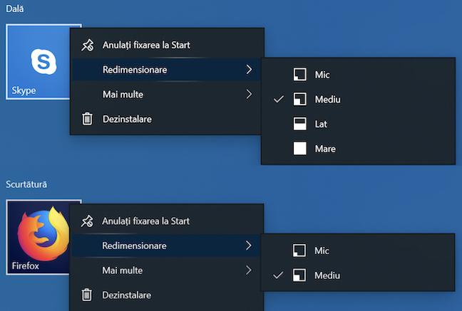 Mărimile unei dale în comparație cu ale unei scurtături în Windows 10