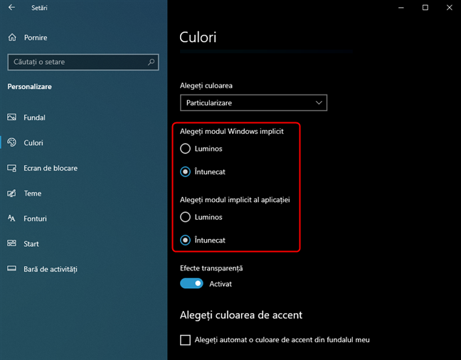 O altă metodă pentru activarea Dark Mode în Windows 10