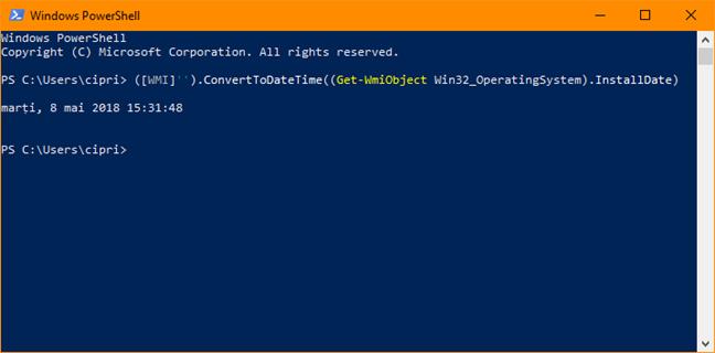 Windows, data instalare