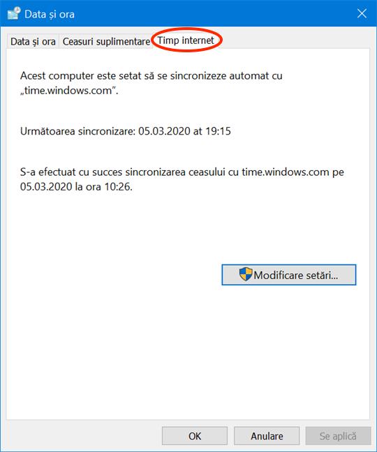 Accesează Timp internet în fereastra Data și ora