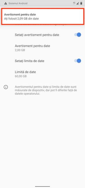 Avertismentul pentru date te anunță câte date ai folosit