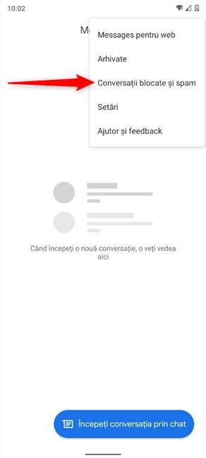 Deschide Conversații blocate și spam