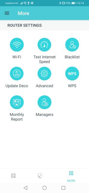Setările din aplicația TP-Link Deco