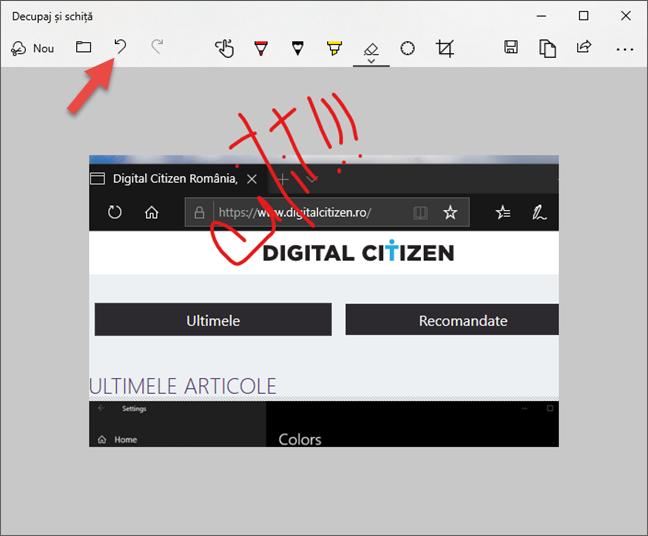 Anulare editări în Decupaj și schiță