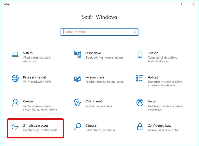 Deschide Simplificare acces în setările de Windows 10