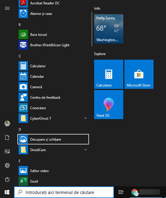 Comanda rapidă pentru Decupare și schițare în Windows 10