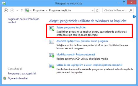 programe implicite, setare, extensii, fisiere, Windows 8.1, Windows 7